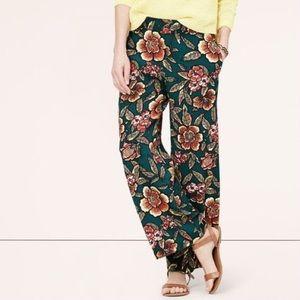 LOFT cropped floral wide leg pants 4P